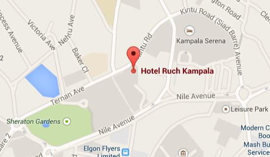 Map of Ruch Hotel in Kampala